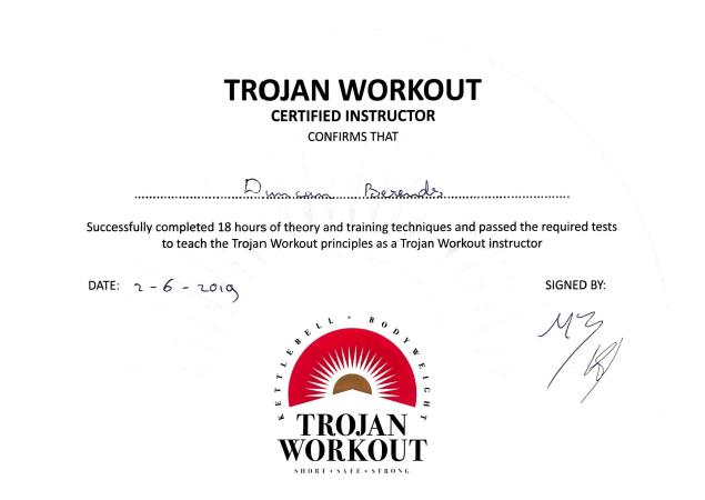 KNKF Trojan Workout certificaat - Trojan Workout 1