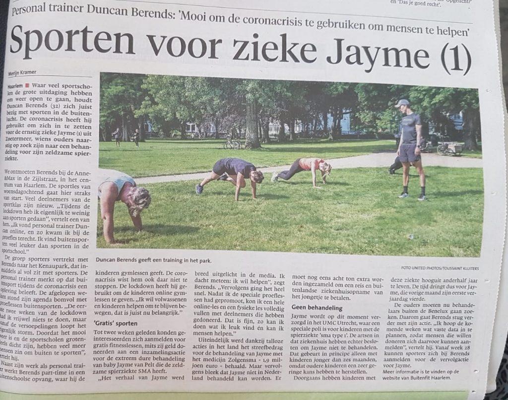 BuitenFit Haarlem in Haarlems Dagblad voor Jayme - B4ACF873 38CE 4B4B 86B7 3BC3891010B8 1024x806