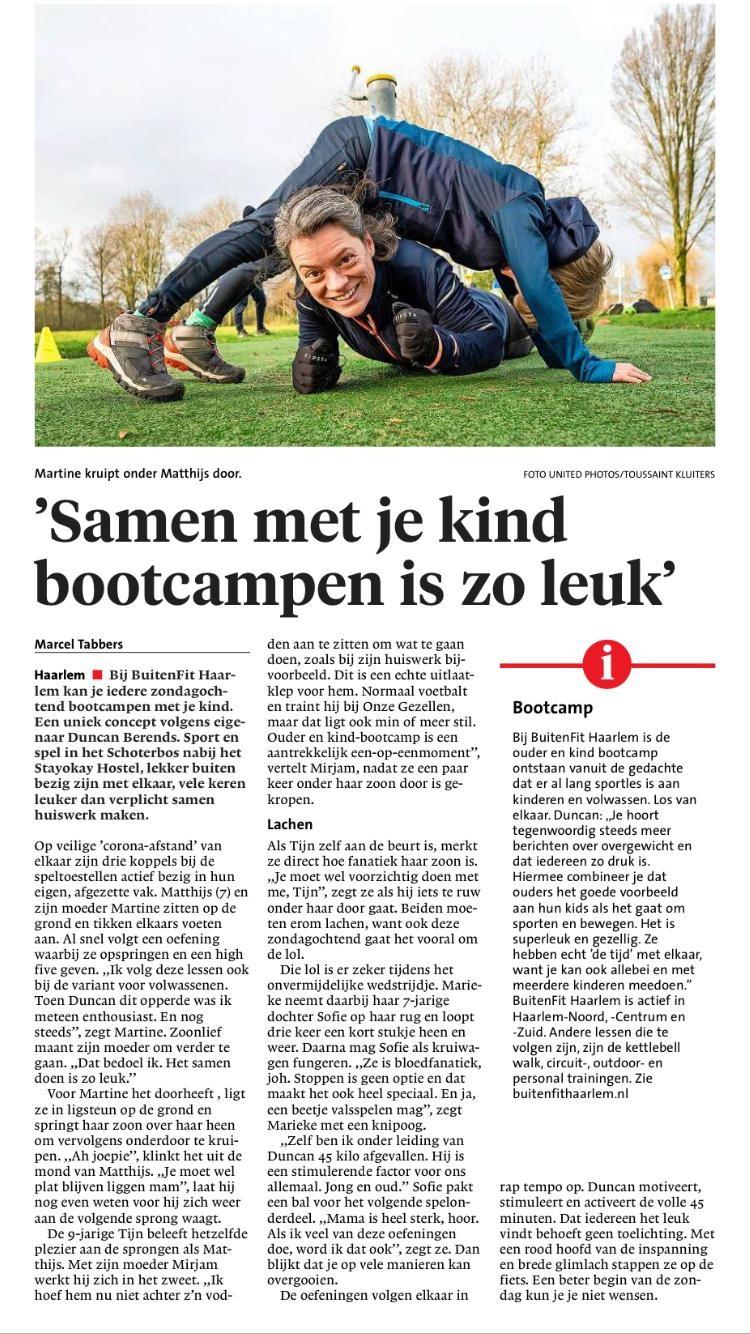 groepslessen - BuitenFit Haarlem in het Haarlems Dagblad