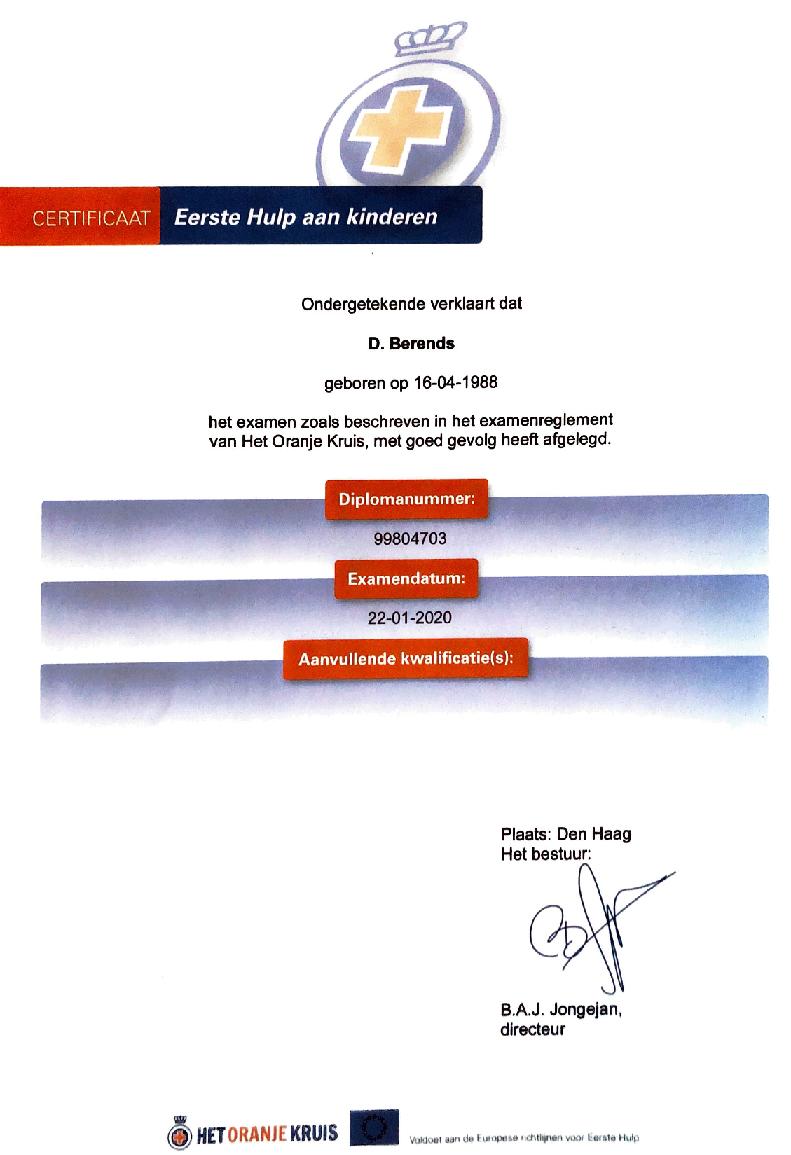 Eerste hulp aan kinderen certificaat - Kinder EHBO certificaat