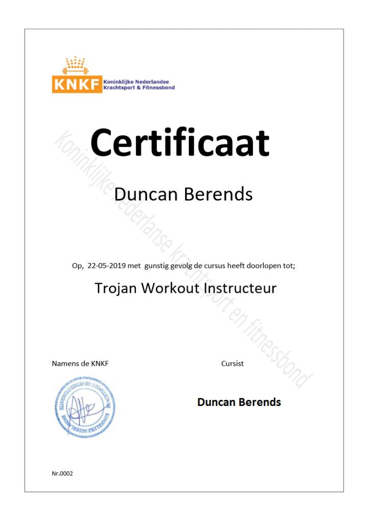 KNKF Koninklijke Nederlandse Krachtsport Fitnessbond certificaat - KNKF Koninklijke Nederlandse Kracht Federatie certifcaat 745x1024