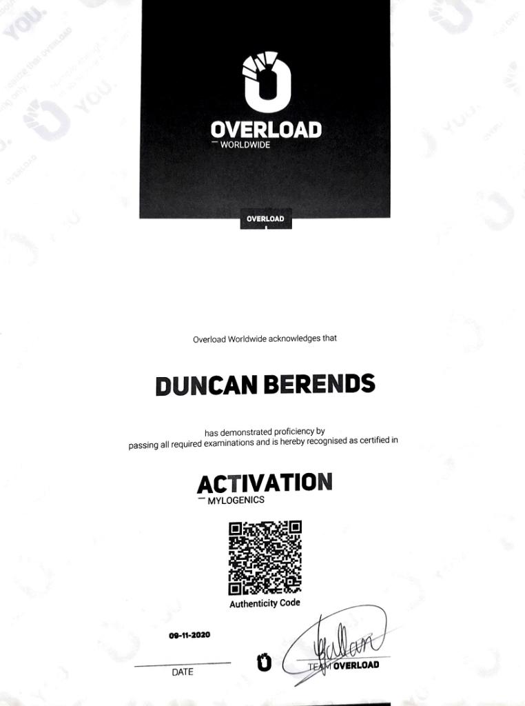 KNKF Koninklijke Nederlandse Krachtsport Fitnessbond certificaat - Overload activation diploma 762x1024