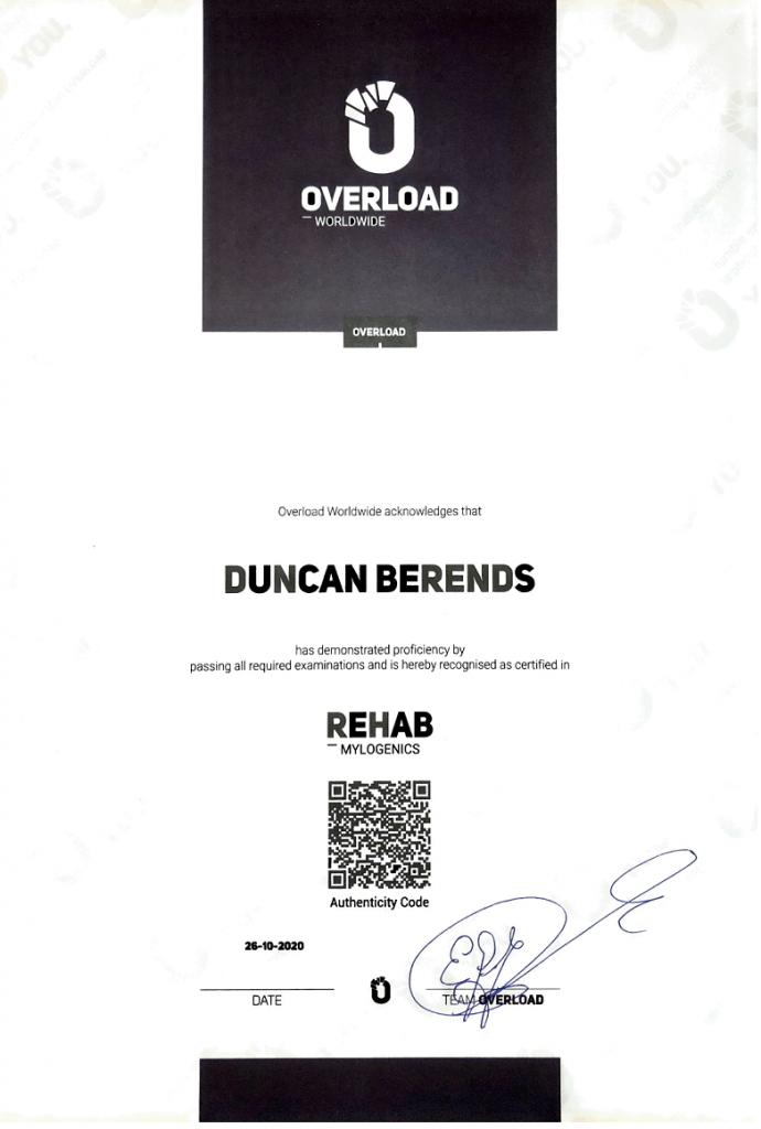 KNKF Koninklijke Nederlandse Krachtsport Fitnessbond certificaat - Overload diploma rehab 690x1024