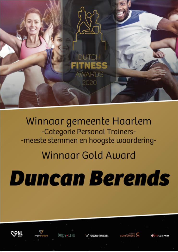 Personal trainer van het jaar 2020 in Haarlem - Winnaar Dutch Fitness Award 2020 Personal trainer van de gemeente Haarlem 1