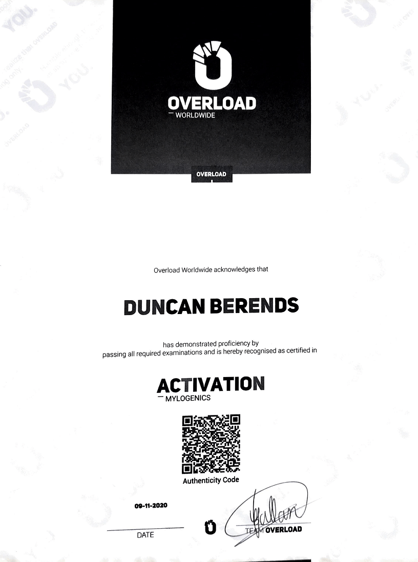 Mylogenics activation diploma - Overload activation diploma